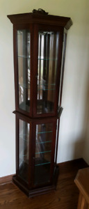 Wood and glass curio cabinet