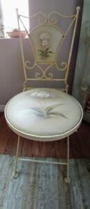 Reduced! Shabby Chic Wrought Iron Parlor Style Fold-up Chair