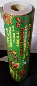 Industrial size roll of Christmas wrapping paper