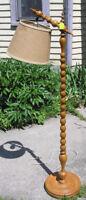 Mid Century Country Wooden Spool Floor Bridge Lamp, Burlap Shade Oshawa / Durham Region Toronto (GTA) Preview