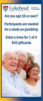 Study for Age 55+: Giftcard Draw for Participation