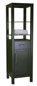 Espresso storage cabinet linen closet tower with open glass disp
