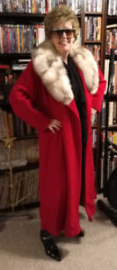 "Red Wool ""Together"" Coat with Huge Fox Fur Collar"