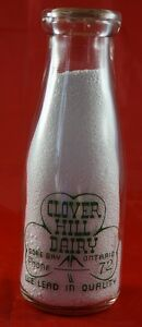 Round Pint Milk Bottle from CLOVER HILL DAIRY GORE BAY ONT