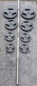 **BRAND NEW** 7ft OLYMPIC BARBELL WITH 75kg OLYMPIC RUBBERISED TRI GRIP WEIGHTS