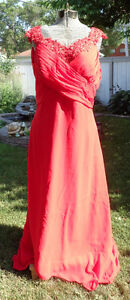 Never Worn Bridesmaid/Formal Dress, Red Satin and Lace Applique