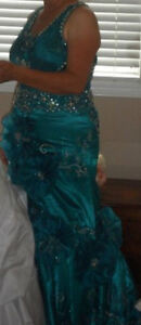Beautiful fancy teal evening dress
