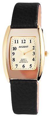 Akzent Damen Armbanduhr Quarz Schwarz Weiß Goldfarbig Eckig - Damenuhr