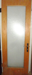 """Solid Wood Door 29 5/8"""" x 81 7/8"""" Frosted Glass Steel Hardware"""
