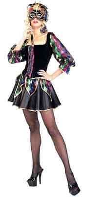Fancy Jester Mardi Gras Masquerade Fancy Dress Halloween Sexy Adult Costume