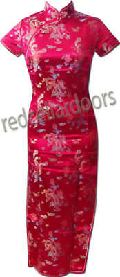 New Chinese Cheongsam Phoenix & Dragons in Deep Burgundy Wine Stunning Sz 40 L Phoenix Chinese Dresses