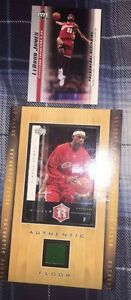 2 03-04 UD Lebron James Cards-1 Rookie #5 & Authentic Floor Card