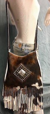 Raviani Crossbody Fringe Bag W/crystal Concho Brindle Leather MADE IN USA