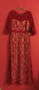 Long Red Lace Gown, Never Worn, Tags Attached