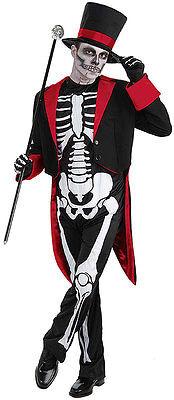 Herren Skelett Herr Knochen Jangles Bond Kostüm Halloween Tag der Toten (Herr Der Knochen Kostüm)