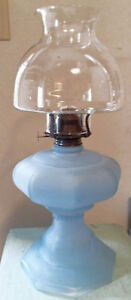 Antique Oil Lamp Frosted Blue Glass Base  H8Z1W9--FIRM---