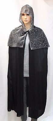 Halloween Costume Adult Web Hooded Cape One Size Fits Most Silver Black New