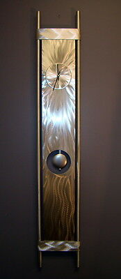 Large Modern Abstract Silver Wall Clock - Contemporary Metal Wall Art Home Decor