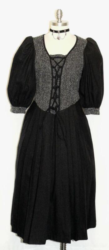 BLACK ~ WOOL Women GERMAN Long WINTER Church Career WARM Dress 10 M