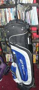 Large assortment of various golf clubs And Bags