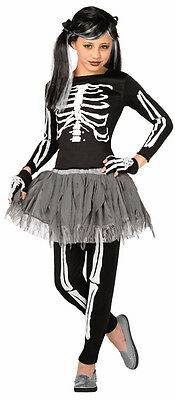 Girls Skeleton Tutu Halloween Fancy Dress Costume Outfit New Age 4-6 (Halloween Costumes For Girls Age 4)
