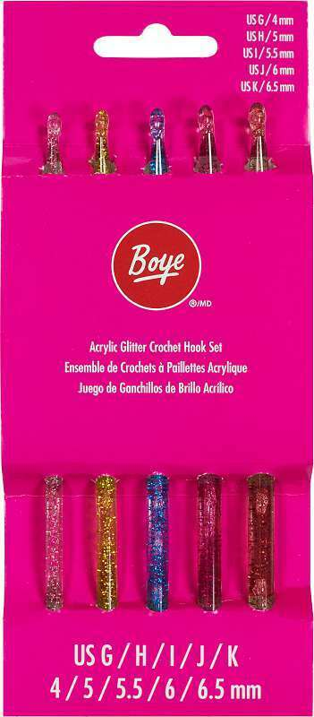 Boye Glitter Crochet Hook Set Sizes G To K 192887655852