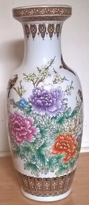 Antique Chinese White Vase with Flowers, Birds & Butterflies