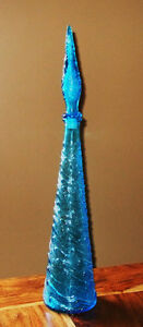 """2 - Textured Blue Glass Spirit Decanters with tall """"corks"""" Strathcona County Edmonton Area image 2"""
