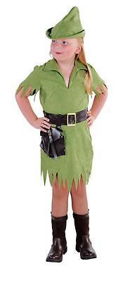 Robin Hood Peter Pan Jäger Girl Kostüm Kleid Kinder Mittelalter Jägerkostüm Hut ()