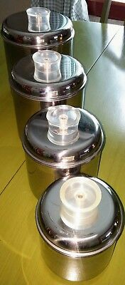 Vintage 50's Revere Ware canisters with tell-you-tops! Stainless steel set of 4.