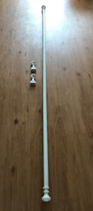 White Wooden IKEA Curtain Rods (8 Feet Long) with Brackets