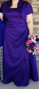 Purple bridesmaid dress with bolero