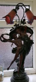 Dancing scene couple figurine lamp