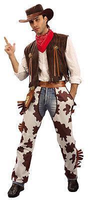 Cowboy Cowprint Western Mens Fancy Dress Costume Hat Bandana Chaps (L-XL)