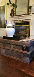 Antique Metal Relief Panel Wood Steamer Trunk, Coffee Table