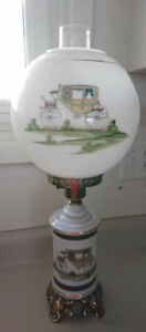 Vintage Milk Glass Coach/ Carriage Lamp