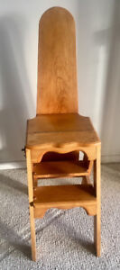 Antique style pine ironing board/chair