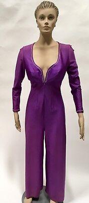 GLYDONS Jumpsuit Purple Nylon Blend Rhinestones One Piece Lingerie Pantsuit 34