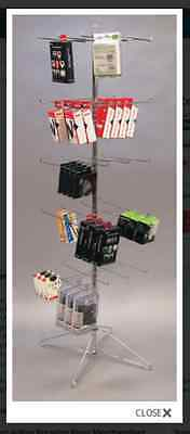 Floor Spinner Display Rack - 5 Tier 40 Peg Hook Chrome Finish