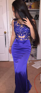 Royal Blue Silk finish floral beaded prom dress