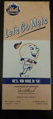 1964 New York Mets schedule VERY RARE