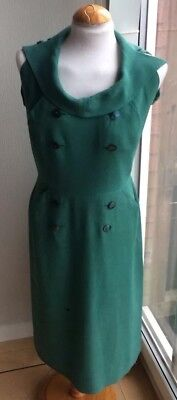 VINTAGE 1940s -50s GREEN ROLL COLLAR BUTTON DETAIL DRESS SIDE POCKETS.SIZE M