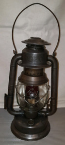 antique BEACON SMP LANTERN WITH RED GLASS SPOT