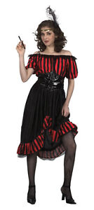 SALOON GIRL FANCY DRESS COSTUME WESTERN WOMEN COWGIRL NEW