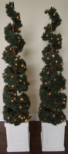 Pre-lit Artificial Spiral Topiary in Square Pot (Set of 2)