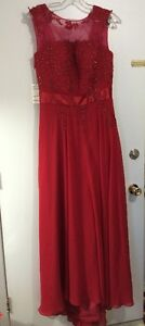 NEW GRADUATION / PROM DRESS RED WITH LACE CORSET BACK.
