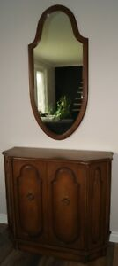 Walnut hall table and mirror