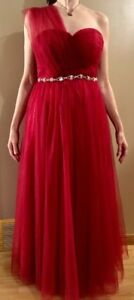 2 Red Floor length evening Gowns size 10 and size 12