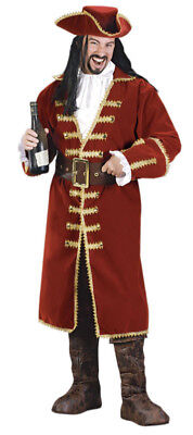 Men's Captain Black Heart Blackbeard Pirate Hook Costume Size - Captain Blackbeard Kostüm