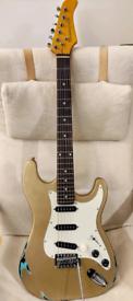 Revivercaster partscaster Stratocaster style guitar in shoreline gold